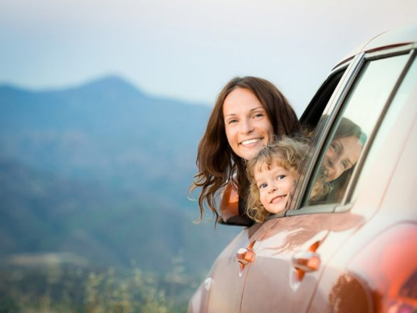 people on a family road trip