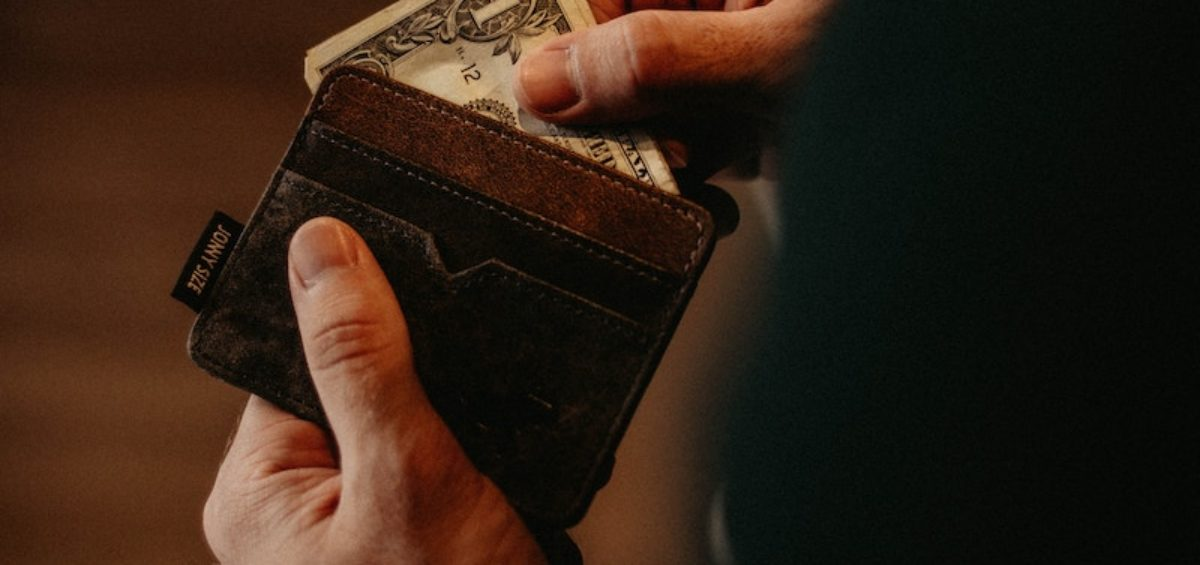 a wallet with money inside